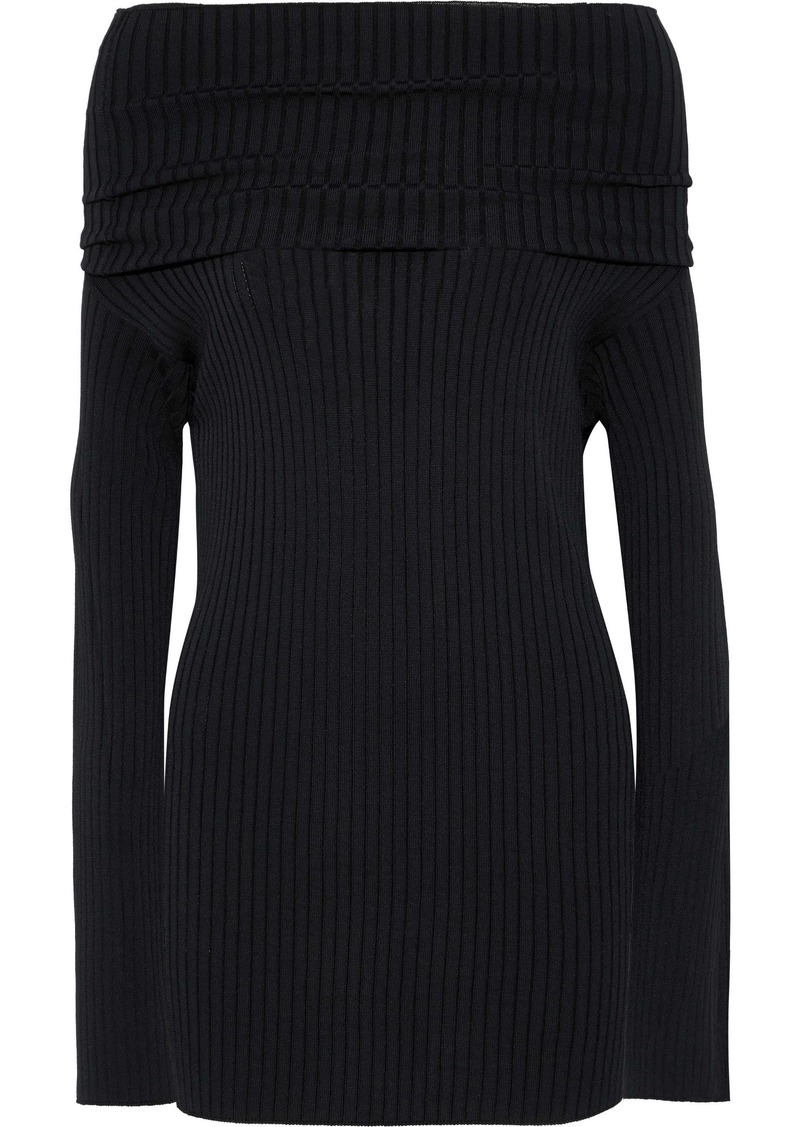 Valentino Woman Off-the-shoulder Ribbed-knit Top Black