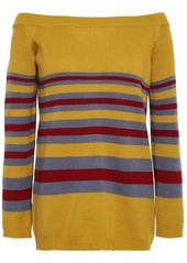Valentino Woman Off-the-shoulder Striped Cashmere Sweater Mustard