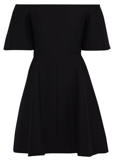 Valentino Woman Off-the-shoulder Wool And Silk-blend Cady Mini Dress Black