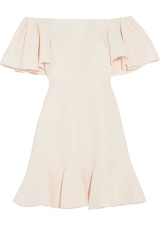 Valentino Woman Off-the-shoulder Wool And Silk-blend Crepe Mini Dress Ivory