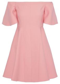 Valentino Woman Off-the-shoulder Wool And Silk-blend Mini Dress Bubblegum