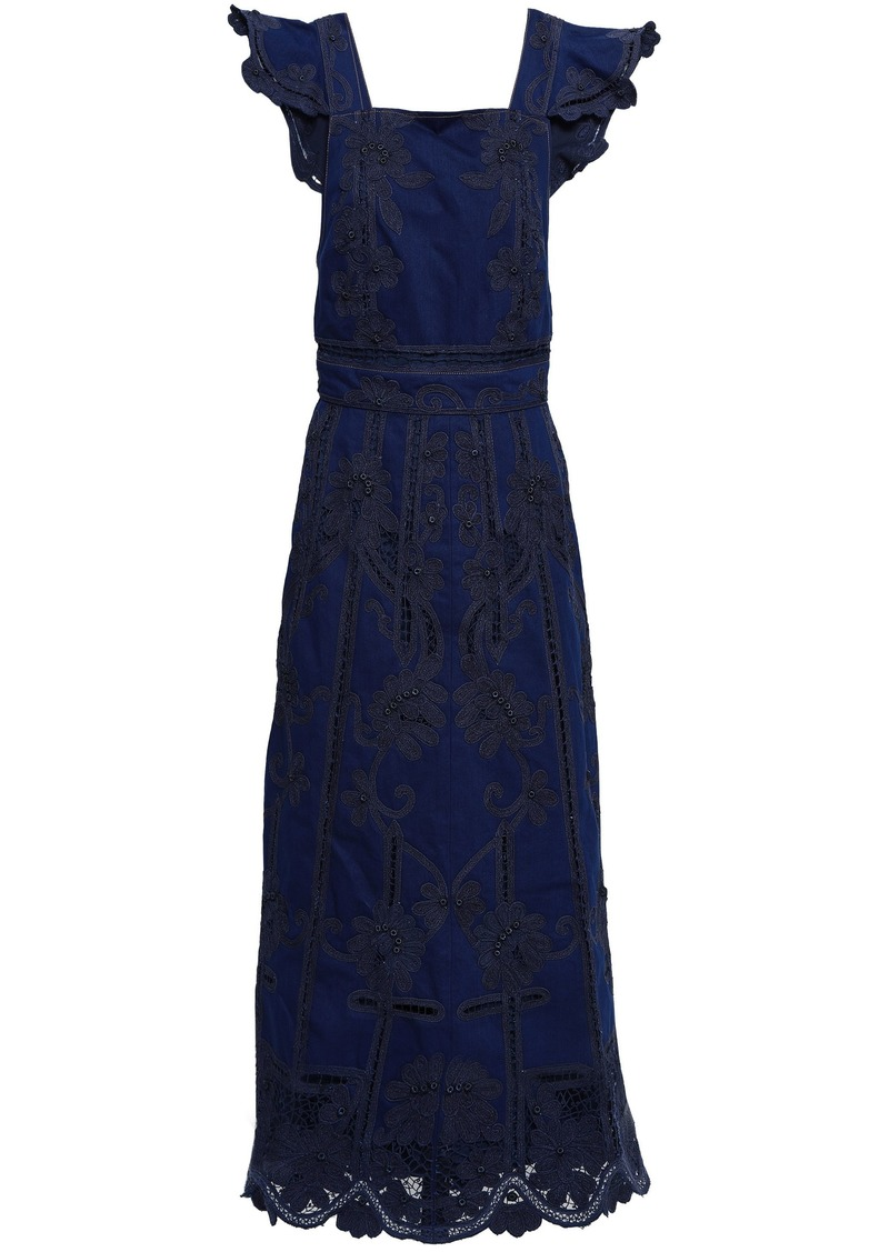 Valentino Woman Open-back Crochet-trimmed Denim Maxi Dress Dark Denim