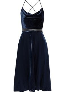 Valentino Woman Open-back Leather-trimmed Draped Velvet Dress Midnight Blue
