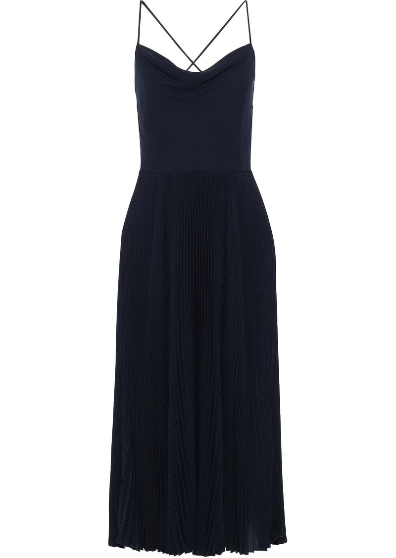 Valentino Woman Open-back Silk Crepe De Chine Midi Slip Dress Midnight Blue