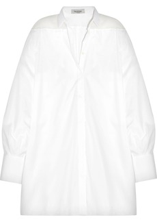 Valentino Woman Oversized Organza-paneled Cotton-piqué Shirt White