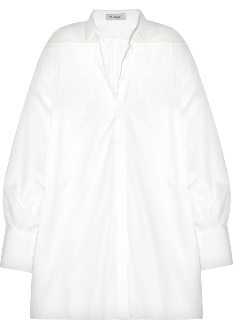Valentino Woman Oversized Organza-paneled Cotton-piqué Shirt White
