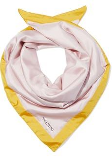 Valentino Woman Padded Printed Silk-twill Scarf Blush