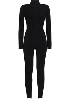 Valentino Woman Paneled Cable-knit Turtleneck Jumpsuit Black