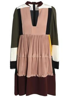 Valentino Woman Paneled Color-block Silk Crepe De Chine Mini Dress Antique Rose
