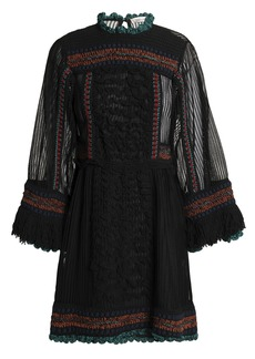 Valentino Woman Paneled Fringe-trimmed Knitted Mini Dress Black