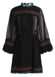 Valentino Woman Paneled Fringe-trimmed Knitted Mini Dress Black