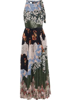 Valentino Woman Patchwork Lace And Floral-print Silk Crepe De Chine Maxi Dress Azure