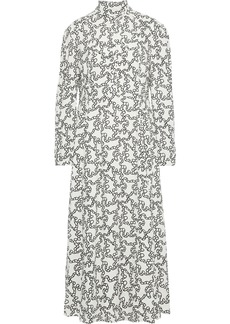 Valentino Woman Pintucked Printed Crepe Midi Dress Ivory
