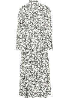 Valentino Woman Pintucked Printed Crepe Midi Dress Ivory