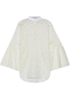 Valentino Woman Piqué-trimmed Cotton-blend Corded Lace Blouse Ivory