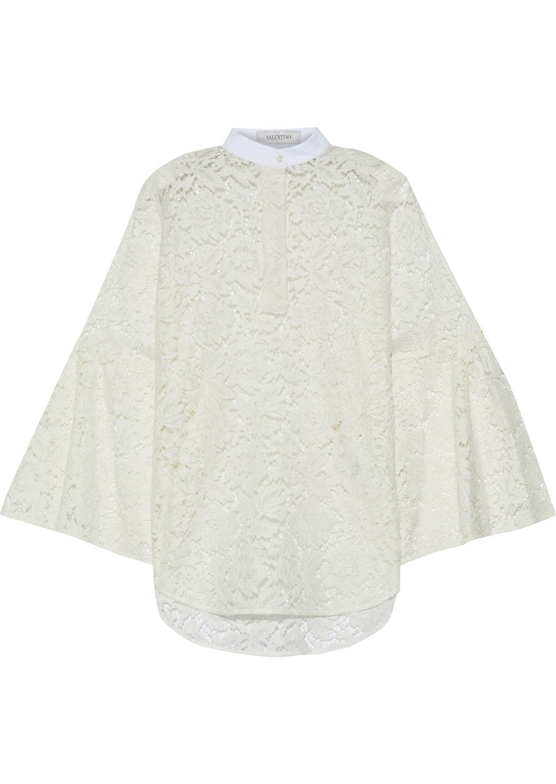 Valentino Woman Piqué-trimmed Cotton-blend Corded Lace Blouse Ivory