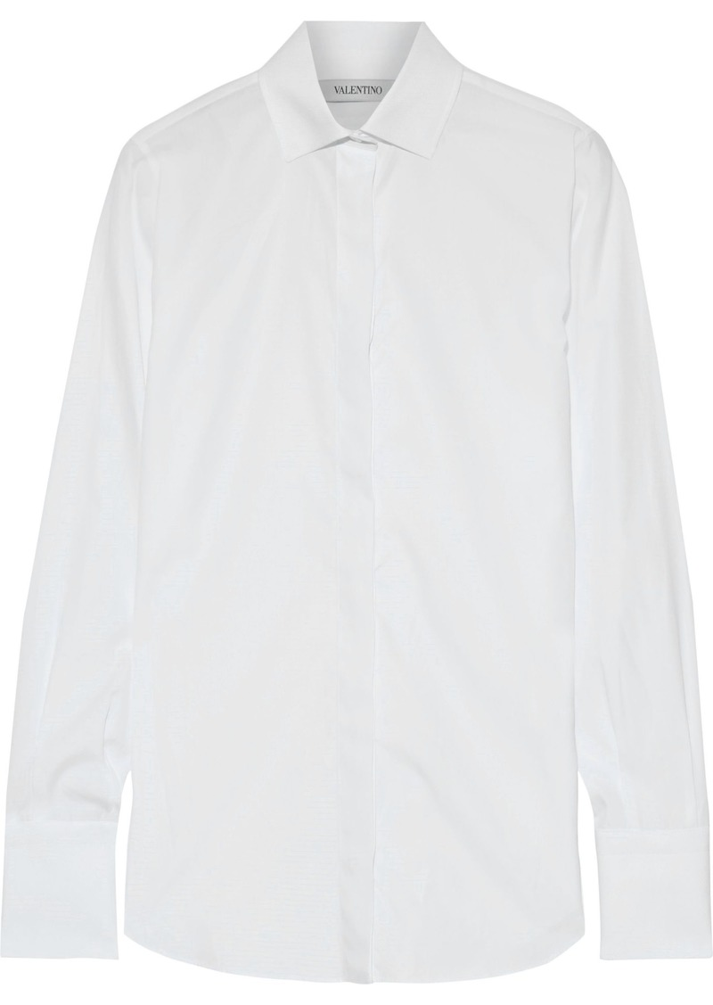 Valentino Woman Piqué-trimmed Cotton-poplin Shirt White
