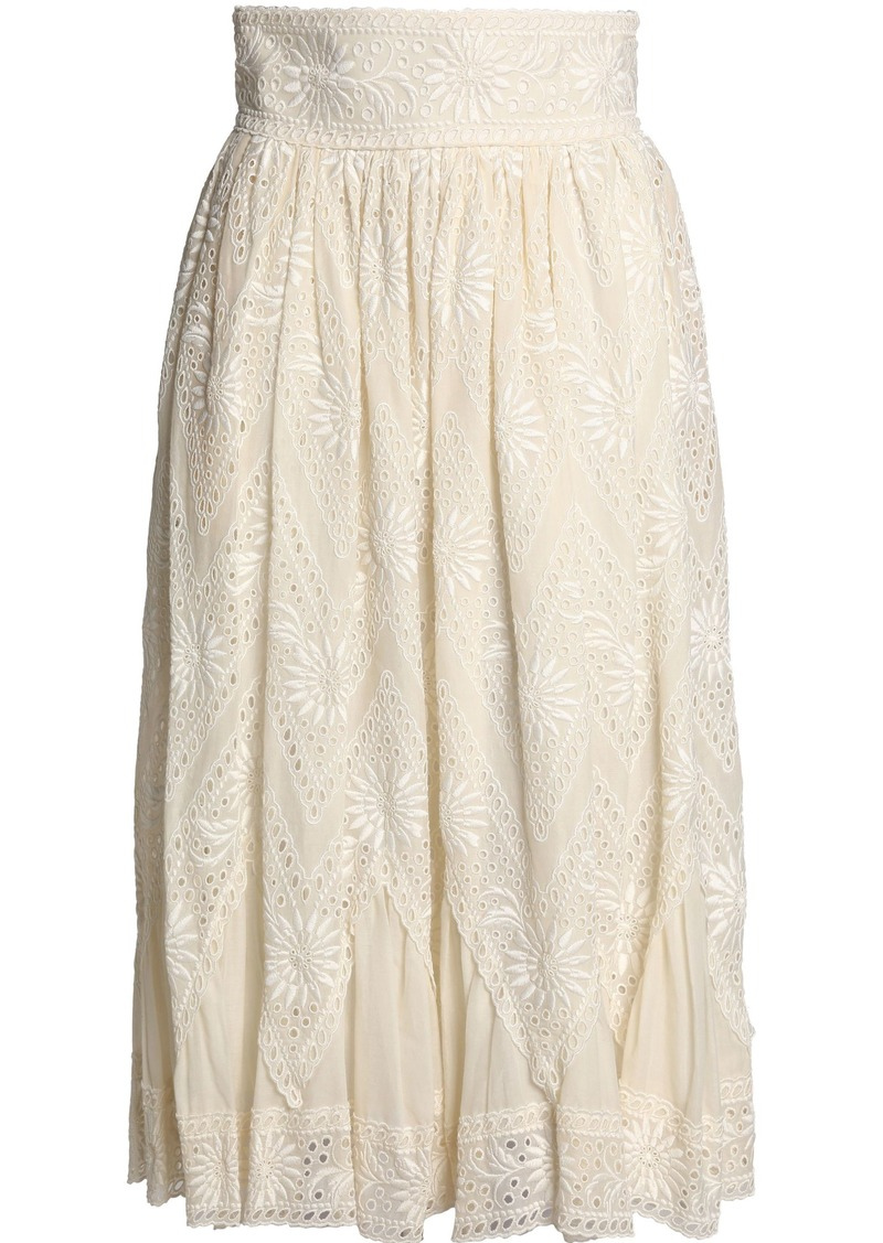 Valentino Woman Pleated Broderie Anglaise Cotton Midi Skirt Ivory
