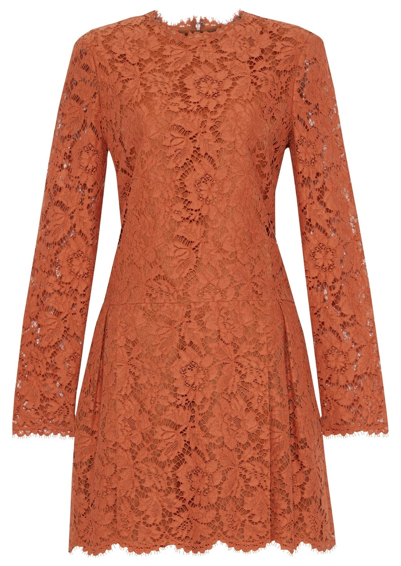 Valentino Woman Pleated Cotton-blend Corded Lace Mini Dress Orange