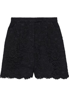 Valentino Woman Pleated Cotton-blend Corded Lace Shorts Black