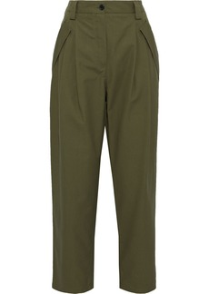 Valentino Woman Pleated Cotton Straight-leg Pants Army Green