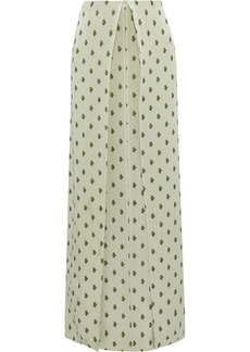 Valentino Woman Pleated Floral-print Textured-lamé Maxi Skirt Light Green