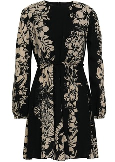 Valentino Woman Pleated Floral-print Wool-crepe Mini Dress Black