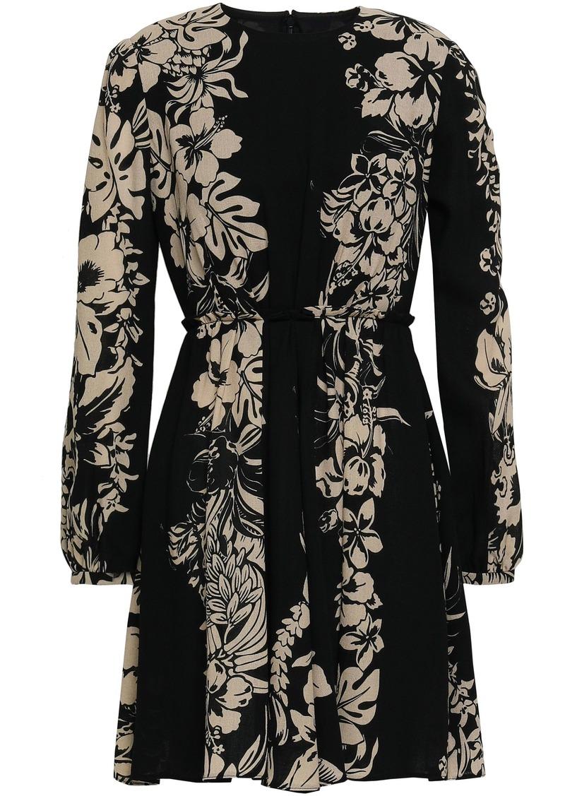 Valentino Woman Pleated Floral-print Wool-crepe Mini Dress Black