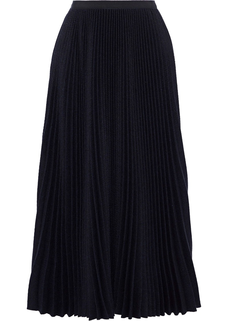 Valentino Woman Pleated Grosgrain-trimmed Wool Midi Skirt Navy