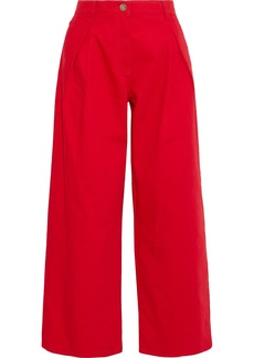 Valentino Woman Pleated High-rise Wide-leg Jeans Red