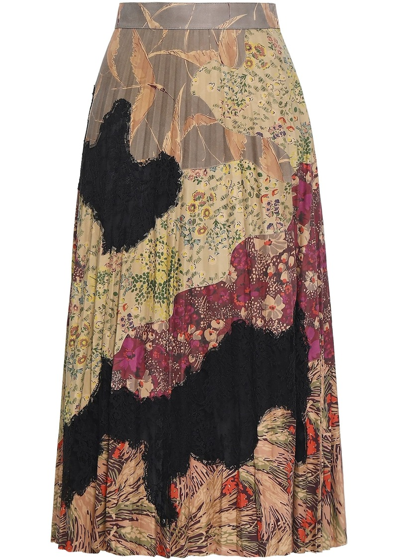 Valentino Woman Pleated Lace-paneled Printed Suede Midi Skirt Sage Green