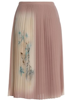 Valentino Woman Pleated Printed Silk Crepe De Chine Skirt Antique Rose