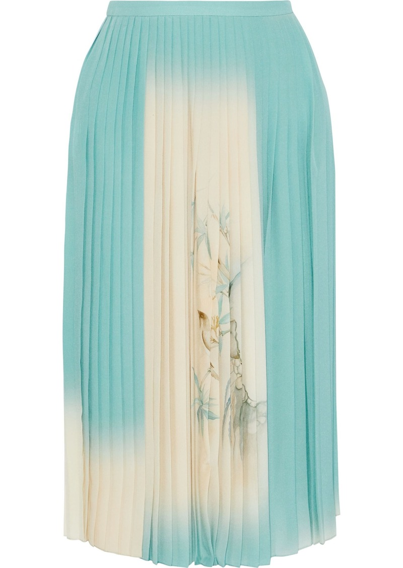 Valentino Woman Pleated Printed Silk Crepe De Chine Skirt Turquoise