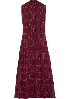 Valentino Woman Pleated Printed Silk-georgette Midi Dress Plum