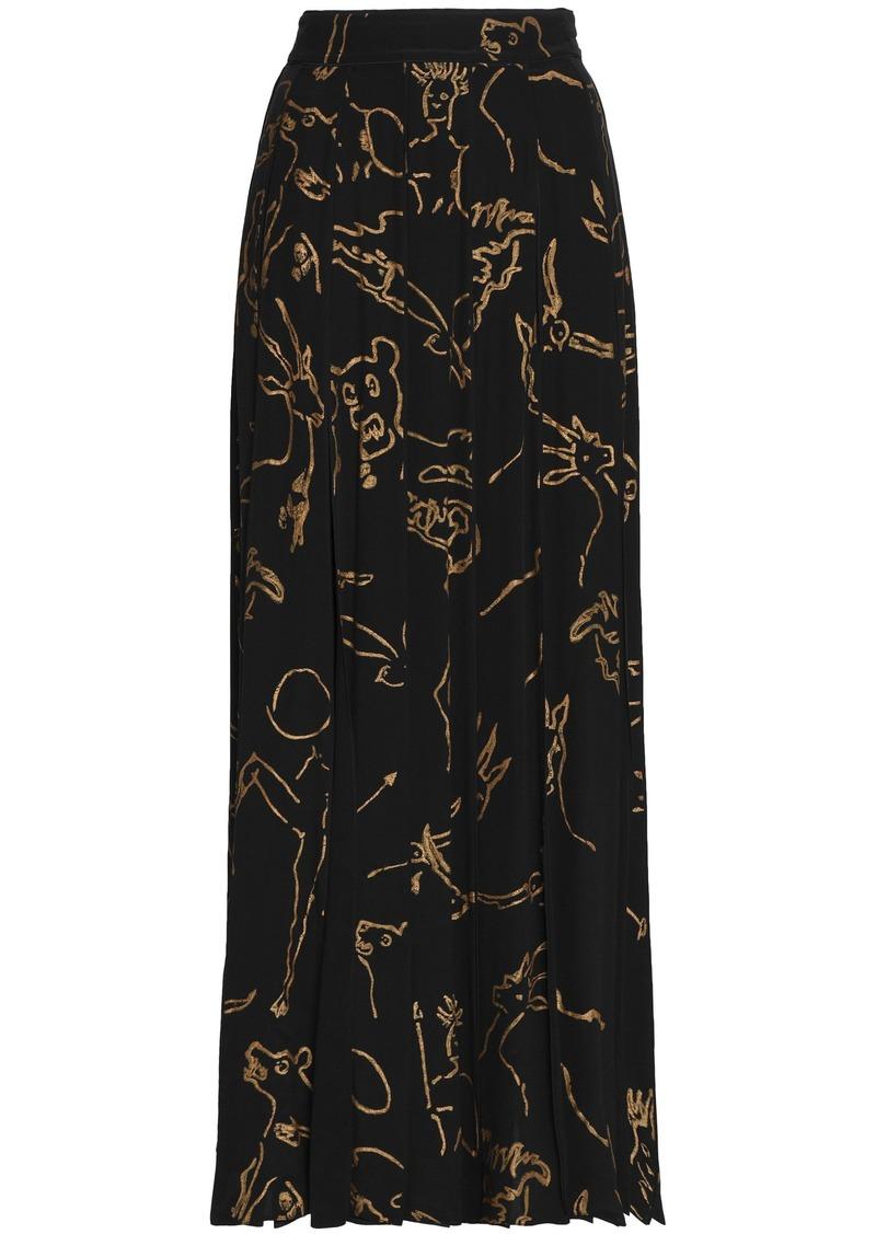 Valentino Woman Pleated Printed Silk Maxi Skirt Black