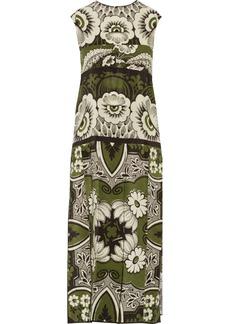 Valentino Woman Pleated Printed Silk Midi Dress Multicolor