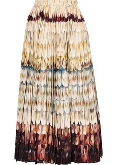 Valentino Woman Pleated Printed Wool And Silk-blend Midi Skirt Pastel Yellow