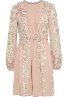 Valentino Woman Pleated Floral-print Wool-crepe Mini Dress Blush