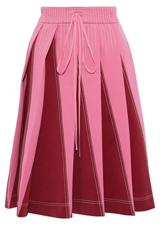 Valentino Woman Pleated Two-tone Ponte Skirt Pink
