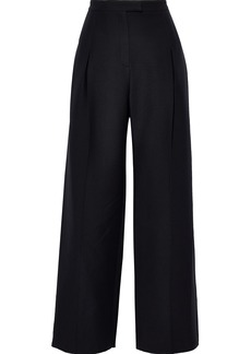 Valentino Woman Pleated Wool And Silk-blend Wide-leg Pants Black