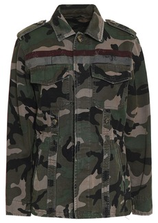 Valentino Woman Printed Cotton-canvas Jacket Army Green