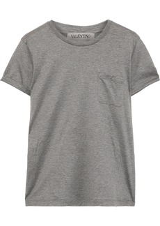 Valentino Woman Printed Cotton-jersey T-shirt Grey Green