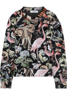 Valentino Woman Printed Cotton-neoprene Sweatshirt Black