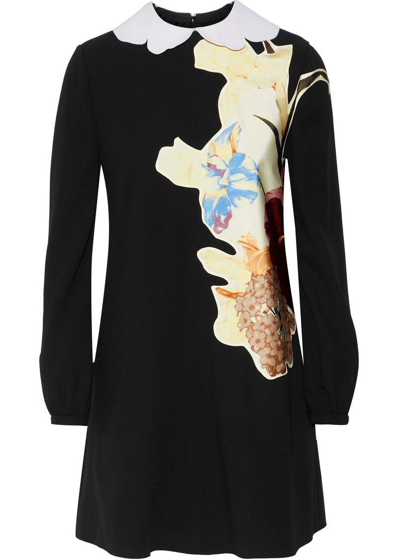 Valentino Woman Printed Satin-appliquéd Wool-crepe Mini Dress Black