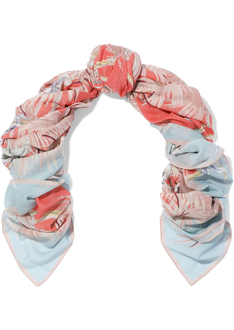 Valentino Woman Printed Cotton And Silk-blend Gauze Scarf Multicolor
