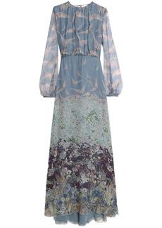 Valentino Woman Printed Silk-chiffon Maxi Dress Sky Blue