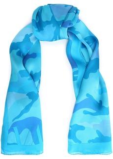 Valentino Woman Printed Silk-chiffon Scarf Light Blue