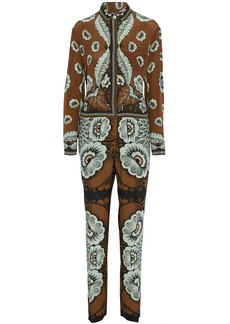 Valentino Woman Printed Silk Crepe De Chine Jumpsuit Brown
