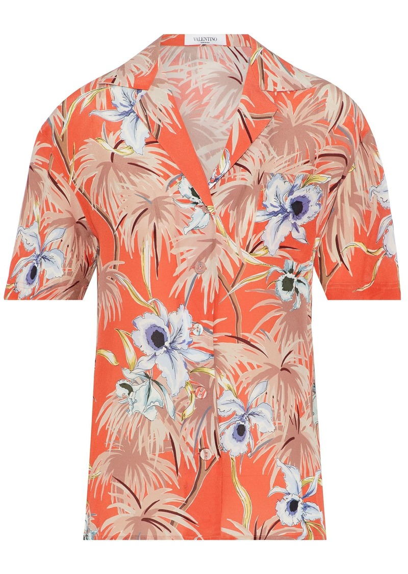 Valentino Woman Floral-print Silk Crepe De Chine Shirt Orange