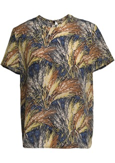 Valentino Woman Printed Silk Crepe De Chine T-shirt Storm Blue